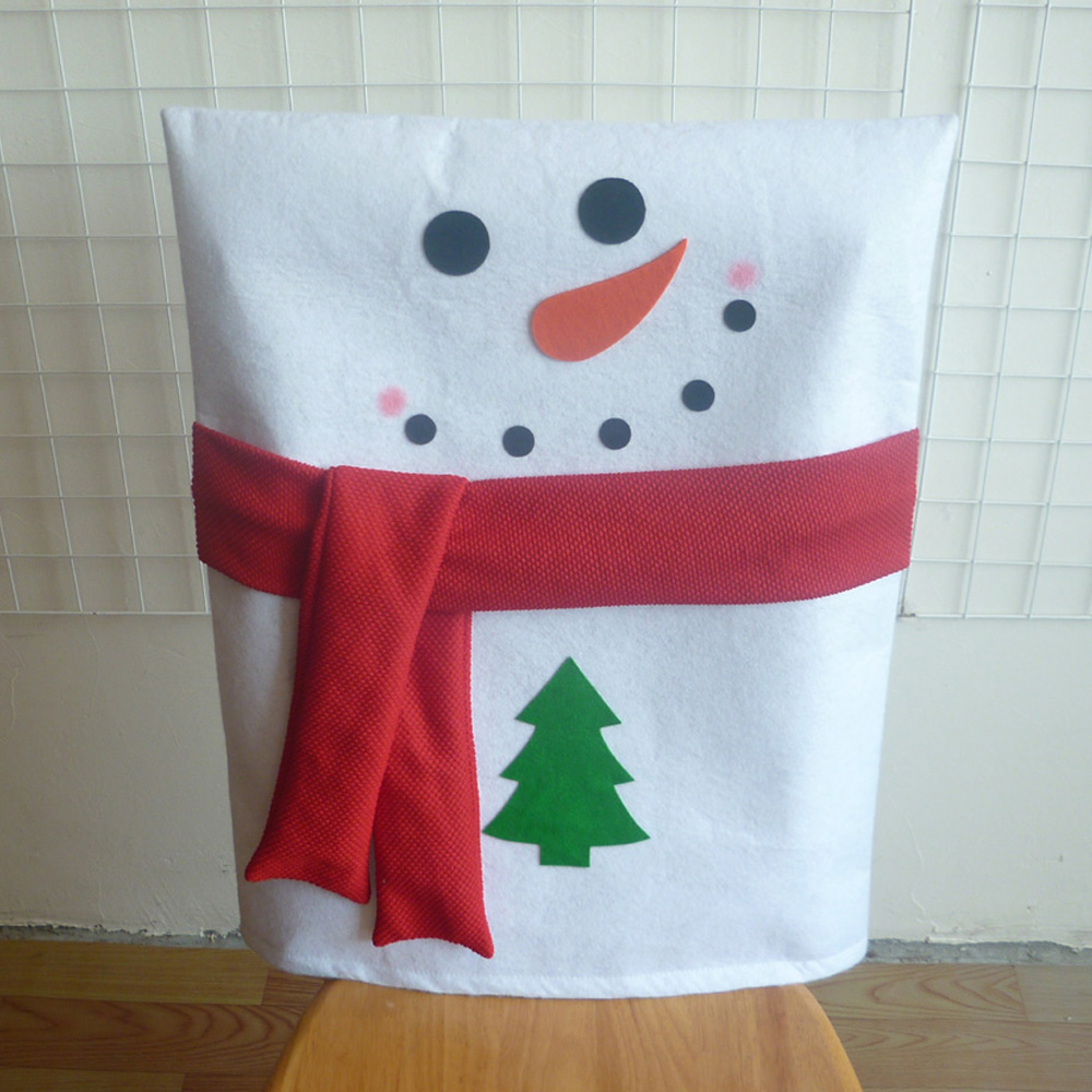 Diy christmas chair covers - 2 Pcs Christmas Decoration Snowman With Scarf Chair Cap Covers Hood Christmas Home Party Dinner Table Diy Decoration Supplies