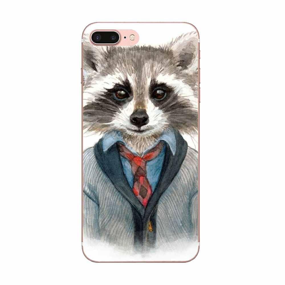 For LG Nexus 5 5X V10 V20 V30 V40 2017 2018 2019 Soft Silicone TPU Transparent Design Raccoon Art Print Dominant