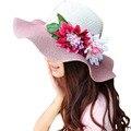 2017 Летние Шляпы для Женщин Floppy Складная Женщины Большие Цветы Пляж соломы Шляпа Солнца Женщин Летом Широкими Полями Шляпа Плоская Крышка Вводной