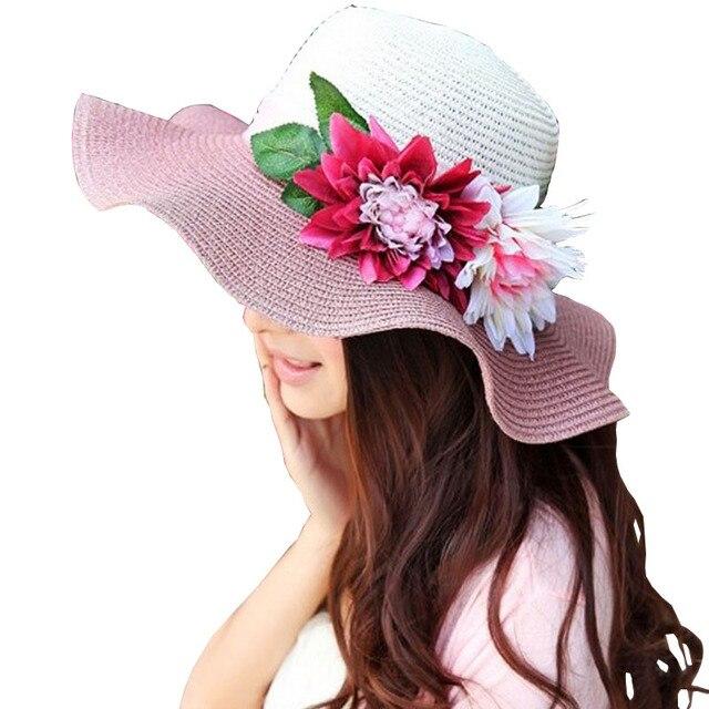 2017 Chapéus de Verão para Mulheres Floppy Dobrável Mulheres Grandes Flores  de Praia palha Chapéu de 9d2d698d628