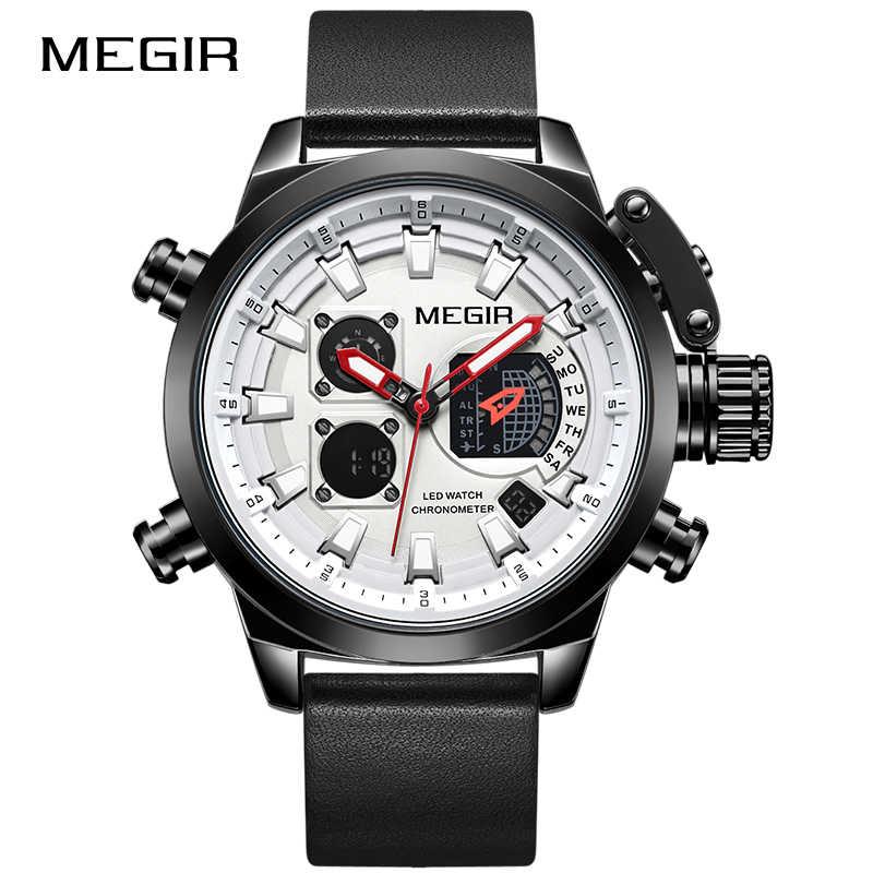 MEGIR montre homme Sport Quartz montre bracelet cuir chronographe étanche armée militaire hommes montre de luxe Top marque horloge mâle Relogios