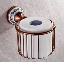Basket Paper Holder Rose Gold Brass Cosmetic Towel Rack Shelf Restroom Tissue Box Bathroom Toilet Holder zba389 все цены