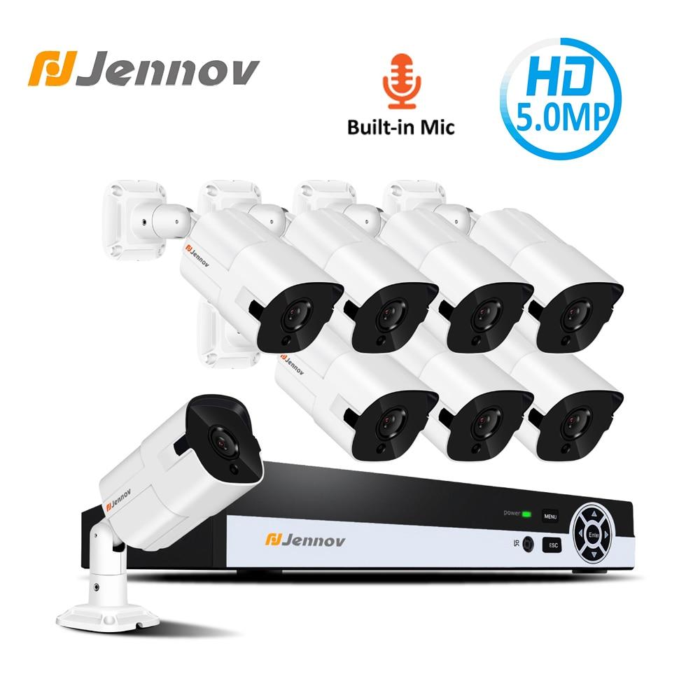 Jennov 5.0MP H.265 système de caméra de sécurité NVR Kit de Surveillance vidéo POE caméra IP CCTV ensemble d'enregistrement Audio P2P HD Vision nocturne