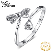 JewelryPalace 925 Sterling Silver Rings Dragonfly Love Heart Adjustable Open Rings for Women Friendship Gifts for Girls Ladies недорого
