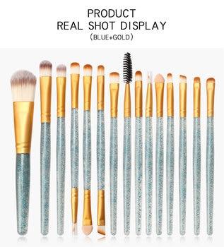 15 Pcs/set Eye Makeup Brush Professional Face Eye Shadow Eyeliner Eyebrow Nylon Fiber Shimmering Powder Handle Eye Shadow Brush 1