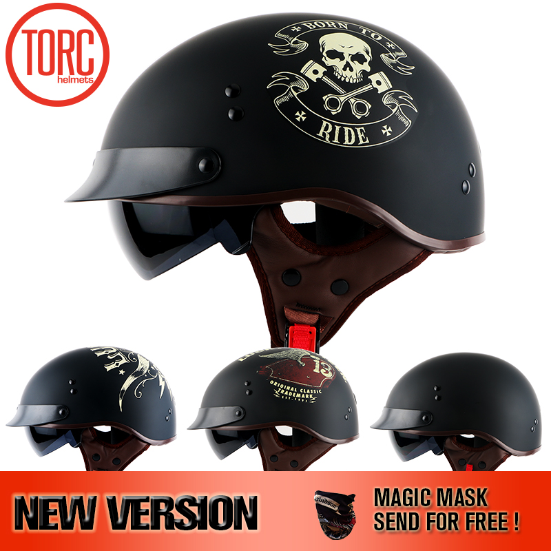 TORC 2018 Harley helmet With Inner Sun Visor Vintage Half Face Motorcycle summer Helmet Casco Casque Moto Retro Helmets DOT T55 skull motorcycle helmet capacetes casco novelty retro casque motorbike half face helmet motorcycle helmet for harley dot approve
