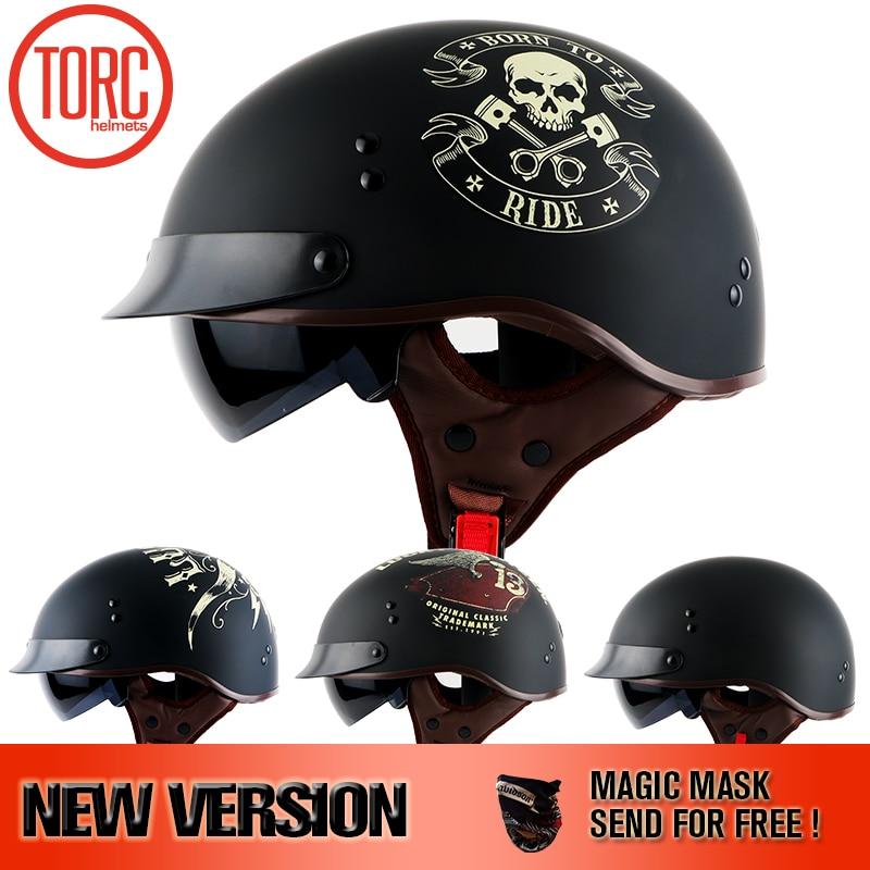 TORC  helmet With Inner Sun Visor Vintage Half Face Motorcycle summer Helmet Casco Casque Moto  Retro Helmets DOT T55