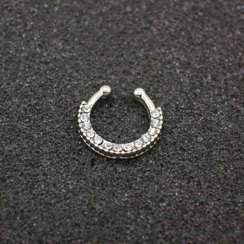 Fashion Crystal fake nose ring round shape Fake septum Piercing Hoop For Women Body Jewelry 2