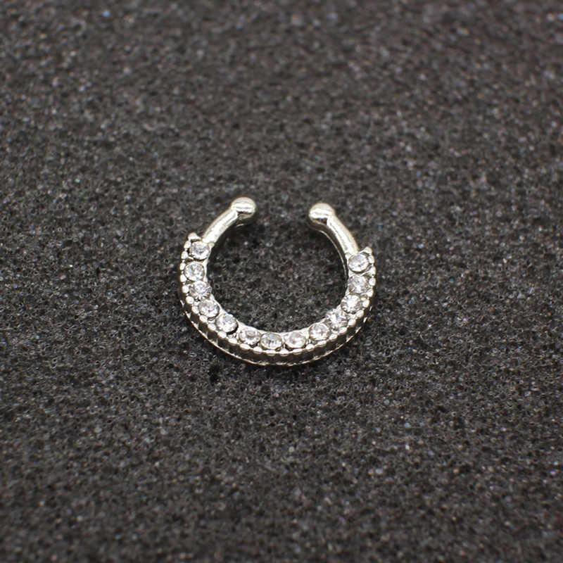 3 шт. модное Кристальное поддельное кольцо круглой формы носа поддельная перегородка пирсинг кольцо для женщин Клипса-обманка кликер не Титановые Украшения для тела