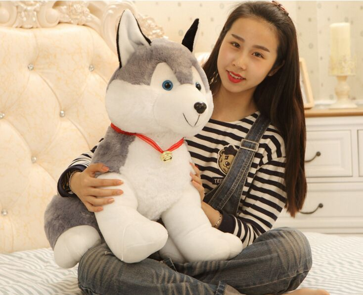 big plush husky toy lovely sitting husky dog gift doll about 35cm 2650 stripes sweater design prone husky largest 165cm gray husky dog plush toy sleeping pillow surprised christmas gift h907