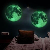 New 30cm Large Moon Wall Stickers Glow In the Dark Luminous Living Room Wall Stickers Home Decor DIY Kids