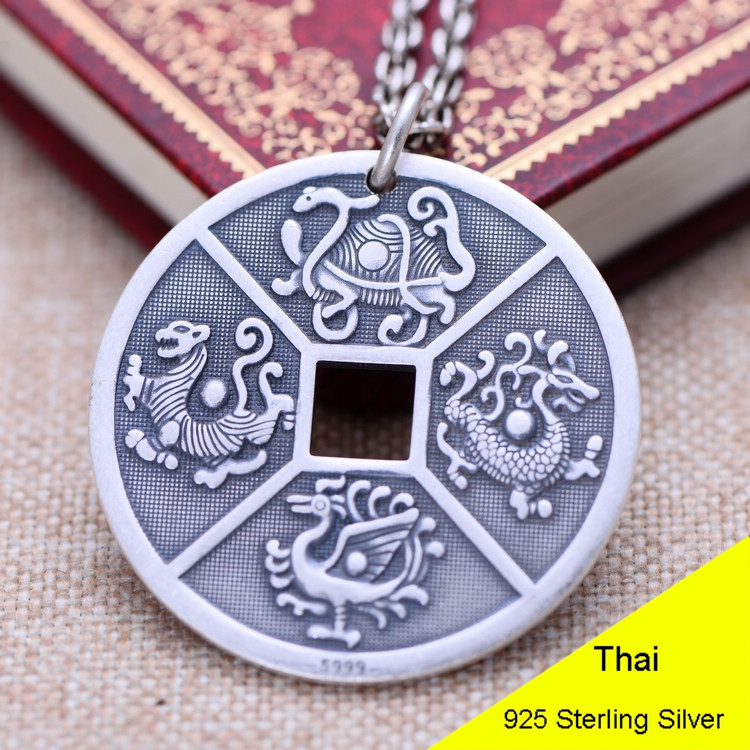 925 Sterling Silver Retro the God of the Quartet Moneyn Coin Necklace Pendant Men Thai Silver Fine Jewelry Gift CH052436 925 sterling silver retro garnet vajry pestle necklace pendant men thai silver fine jewelry gift ch021420