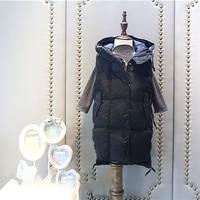 2017 Winter Boys Clothing Girls Vest Kids Thick Velvet Vest Baby Long Hooded Vest Children Casual Warm Outwear Hoodies Jackets