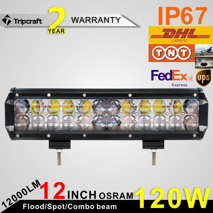 ФОТО Free shiping 2pcs 12 INCH 120W O-S-R-A-M 4D LED Light Bar For Off Road Truck Tractor 4X4 SUV ATV Driving Bar Light 12V 24V