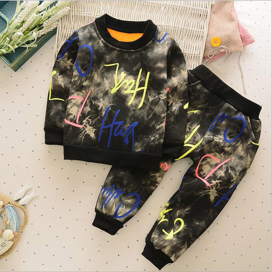 2018 Boys Spring Clothing Trend Jacket Children Velvet Clothes Set Kids Casual Sport Suits Toddler Baby Outerwear Costumes Suits