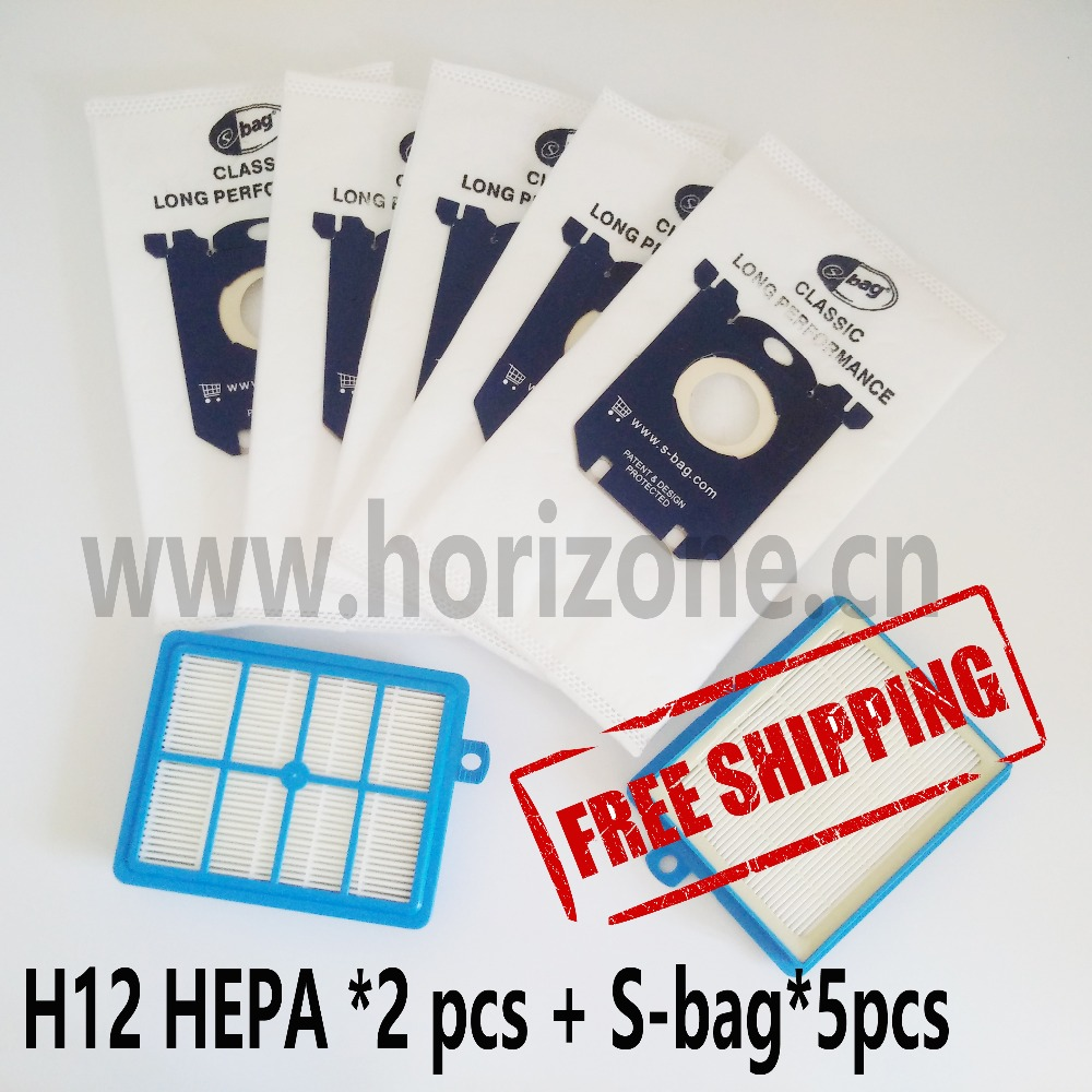 цена на 2X hepa filter h12 & 5 pcs Dust Bags S-BAG SBAG for Electrolux Philips Vacuum Cleaner filter electrolux hepa and S-BAG