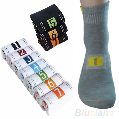 7 Pairs/Lot Week Casual Mens Fashion Dress   Socks   Men Cotton Ankle   Socks   Crew   Sock   For Gift 97QS