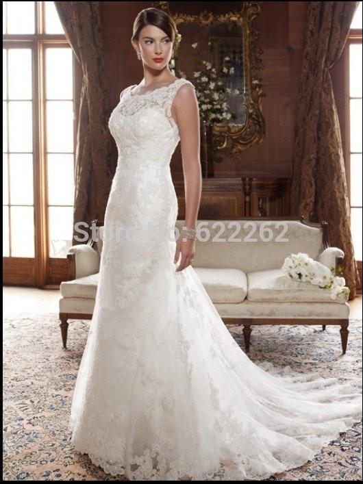Beautifu Scoop Neckline Cap Sleeves Wedding Dresses 2014