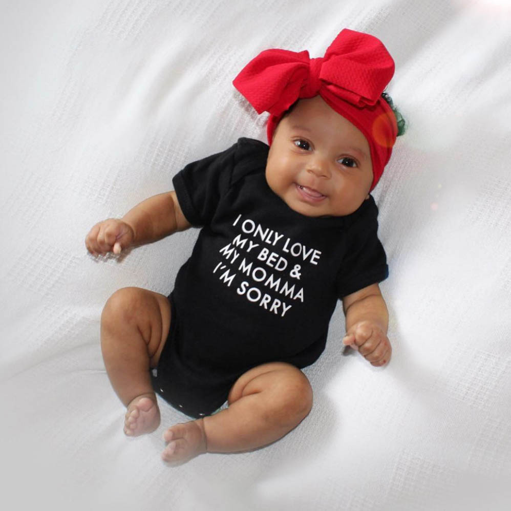 2018 Summer Bodysuit Black Baby Onesie I Only Love My Bed & My Momma Letter Print Short Sleeve Bodysuit Baby Newborn One Piece trumpet sleeve flounce surplice wrap bodysuit