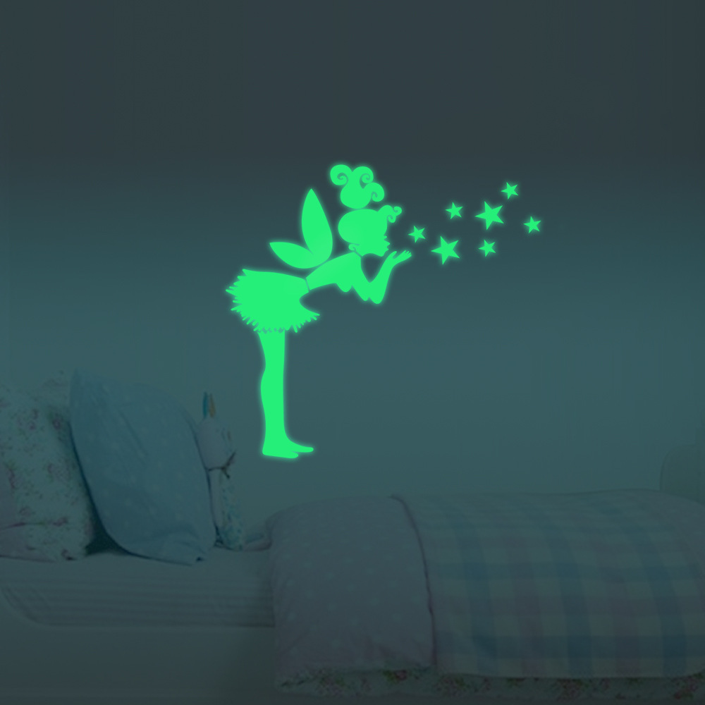 50x57cm Luminous Tinkerbell Decals Fluorescent Stars Wall Stickers Removable Diy Home Decor Great For Children Bedroom