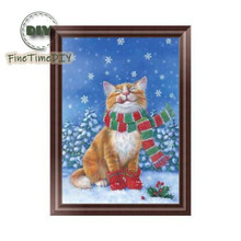 FineTime 5D Christmas Cat DIY Animals Diamond Painting Partial Round Drill Diamond Embroidery Mosaic Cross Stitch finetime 5d christmas cat diy animals diamond painting partial round drill diamond embroidery mosaic cross stitch