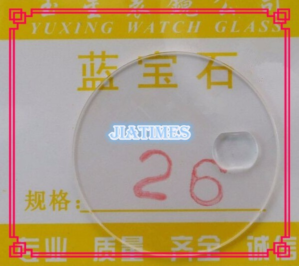 Free Shipping 1pcs 1.0mm Flat Sapphire with Calendar for Watch Repair Size from 23mm to 33mm