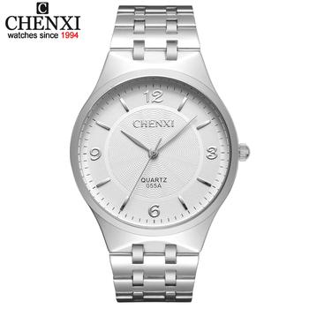 Marka chenxi męskie zegarki kwarcowe ze stali nierdzewnej Casual zegarki biznesowe analogowe zegarki damskie zegarki męskie i damskie tanie i dobre opinie Moda casual QUARTZ STAINLESS STEEL 3Bar Składane zapięcie z bezpieczeństwem 8 8mm Hardlex CX-055A 20cm Nie pakiet 38 2mm