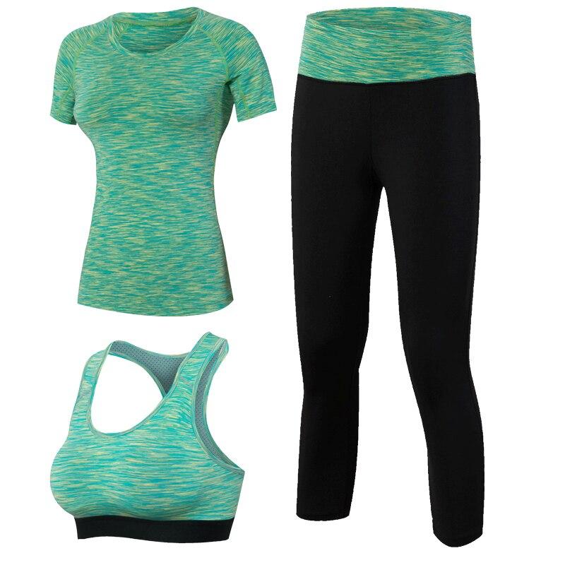 Women Yoga 3pcs Märke Sport Tight Kortärmad tröja Bra Byxor - Sportkläder och accessoarer