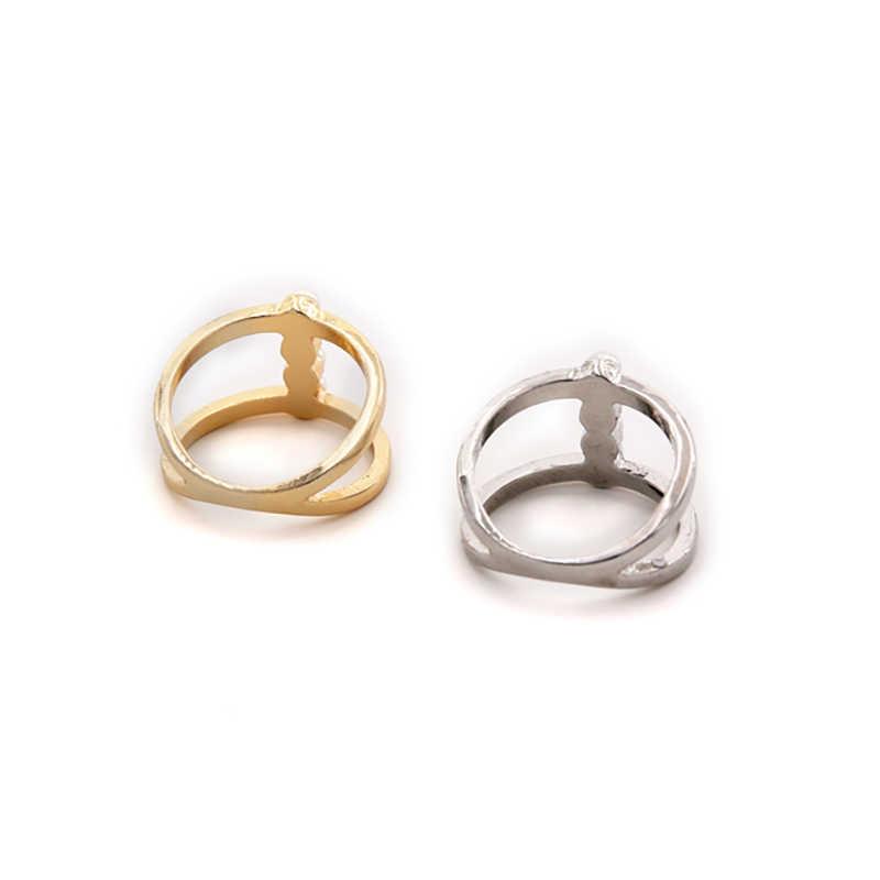 SRCOI คู่ชั้น Elegant ไข่มุกจำลองแหวน Minimalist Gold Silver สีแหวน Bijoux ใหม่ผู้หญิงแต่งงานเจ้าสาวเครื่องประดับ Charm