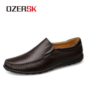 OZERSK Big Size przewiewne buty wsuwane męskie skórzane wsuwane trampki męskie mokasyny mieszkania prawdziwej skóry przyczynowe męskie mokasyny tanie i dobre opinie Skóra bydlęca Gumowe Wiosna jesień Dla dorosłych S1161205 Pasuje prawda na wymiar weź swój normalny rozmiar Oddychająca