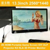 E & M 13,3 дюймов 2560*1440 2 К HDMI Портативный игры Экран DIY DLP проектор Комплект SLA 3D принтеры монитор DIY Kit ЖК дисплей светодиодный модуль