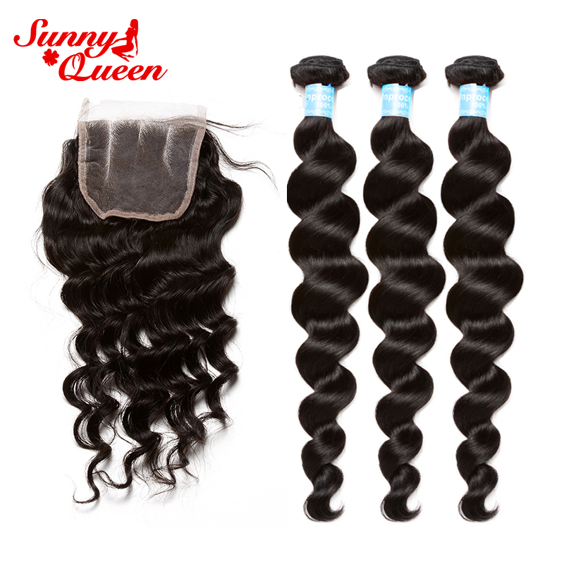 Loose Wave Peruvian Human Hair Bundles With Closure 4 Pcs Human Hair Deal Remy Hair Natural Color Sunny Queen Hair Products
