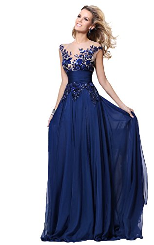 2015 New Fashion Women's Sexy Prom Dress Plus Size Blue Long Lace Evening Gowns Chiffon A-line Scoop Formal Dresses - Shop818089 Store store