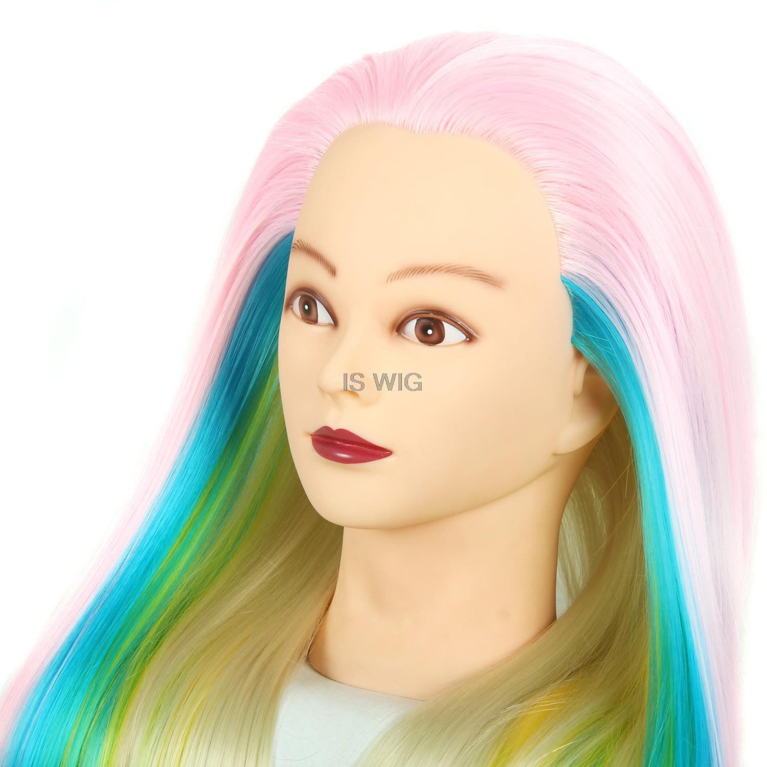 "online shop 25"" colorfull manikin head with hair cutting mannequin"