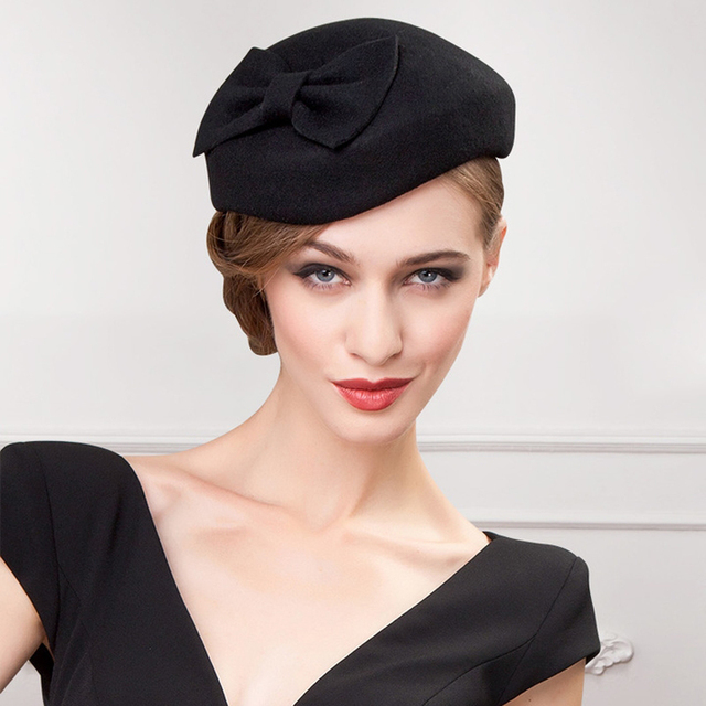 high quality women autumn winter solid fashion formal hats ladies