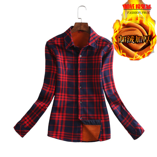 a1a38d411d Grossa de veludo Quente das Mulheres Camisa Xadrez Feminino Manga Longa  Tops M-XXXL Tamanho