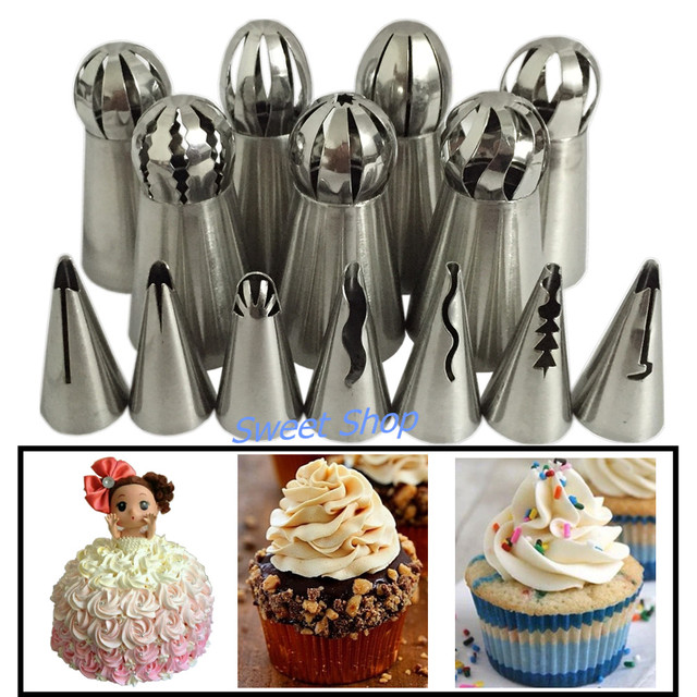 14Pcs Pastry Nozzle Icing Tips Russian + Korean