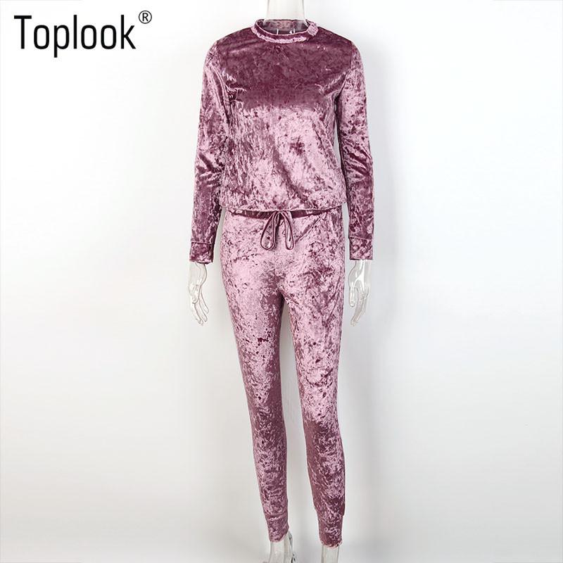 Toplook Aksamitna Dres Dwuczęściowy Zestaw Kobiety Sexy Różowy Top Z Długim Rękawem I Spodnie Body Kombinezon Pasa Startowego Mody 2017 Trainingspak 5