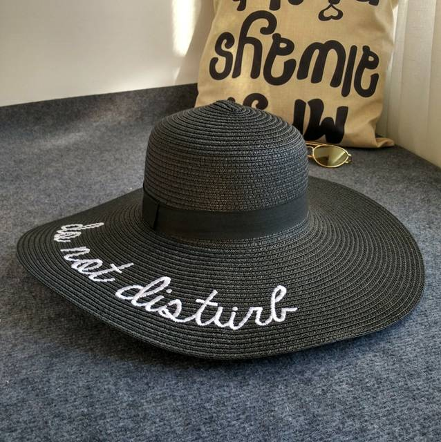 ca18e9bad62 Online Shop  Dexing sun hat do not disturb Letter wide brim summer hats for  women anti-uv straw hat floppy foldable beach sea chapeau