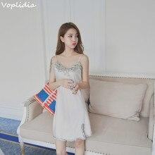 Voplidia Sexy Nightdress Faux Silk Lace Flower V-neck Sleepwear Lace Lingerie Babydoll Nightgown Mini Sleeveless Women Lingerie