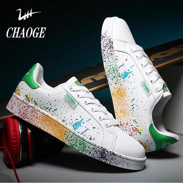 cc306c10afda 2017 spring and summer explosion section couple sports shoes youth men  inkjet large size single board shoes free shipping 2