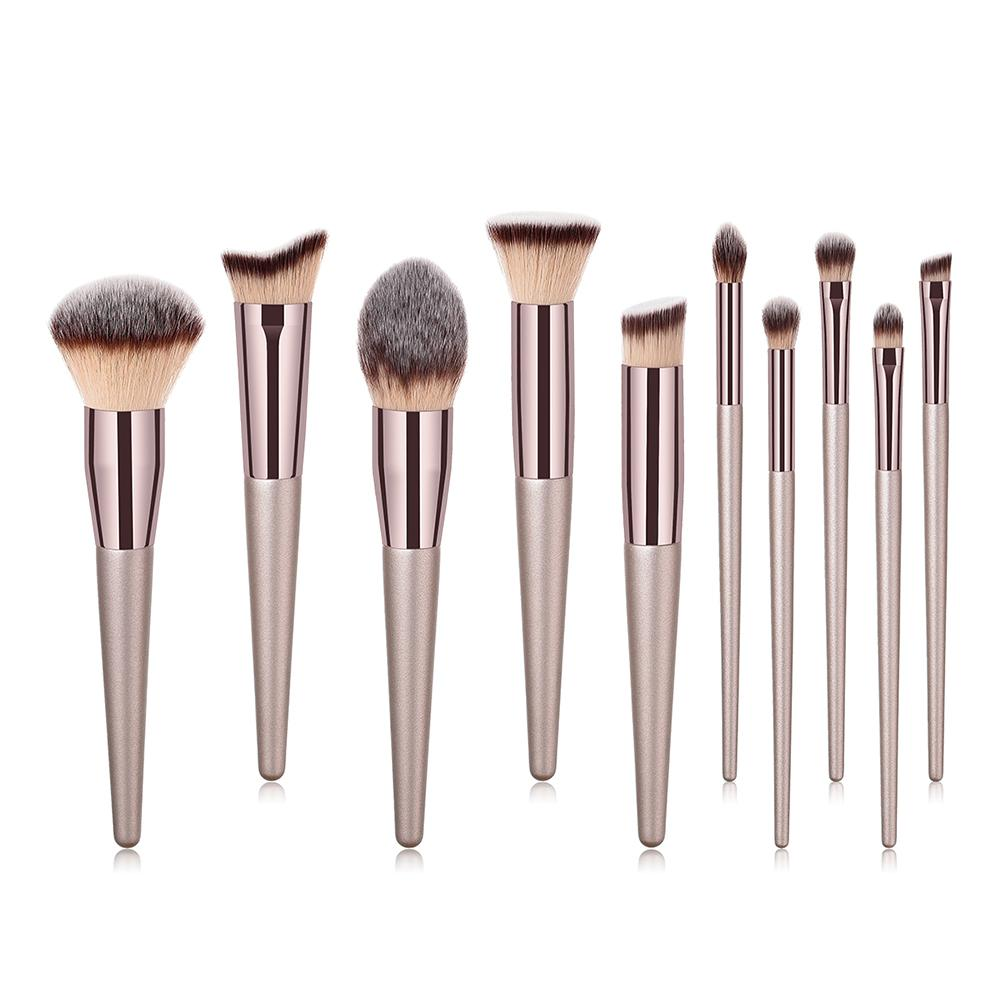 10 pcs Makeup Brushes Kit Natural Soft Bristles Foundation Blush Eyeshadow Cosmetic Brush Make Up Tool