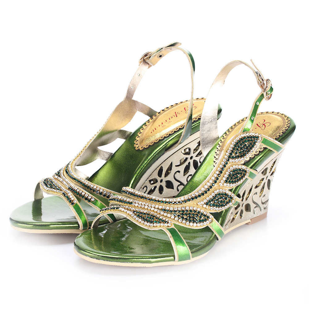 Green Rhinestones Women Sandal Wedge Heels 8cm Side Cut outs Crystals Wedding Shoes Sandals Wedges Shoes For Women Real Photo
