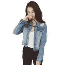 Yfashion Women Ripped Denim Jacket Fashionable Long Sleeve Short Coat Top High Quality Simple Beautiful Natural