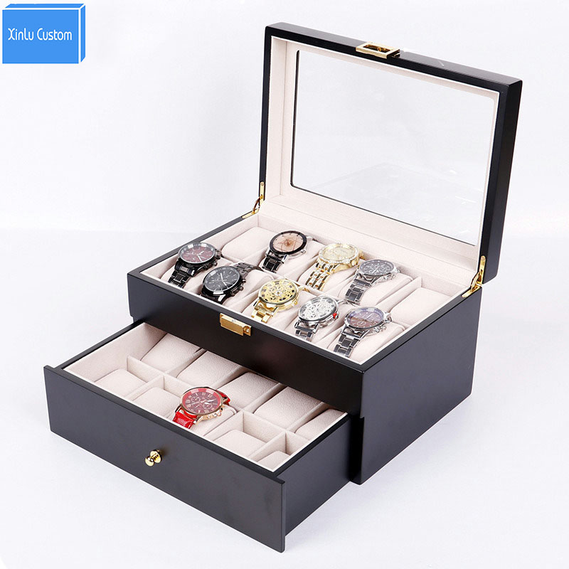 Collection Wood Finish Watch Case Display Storage Watch Box Chest With Glass Clear Viewing Top Holds 20 Watches 2 Layer StorageCollection Wood Finish Watch Case Display Storage Watch Box Chest With Glass Clear Viewing Top Holds 20 Watches 2 Layer Storage