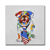 Good Quality Oil Painting Of Dog Wear Tie By Hand Painted Canvas Paintings For Living Room