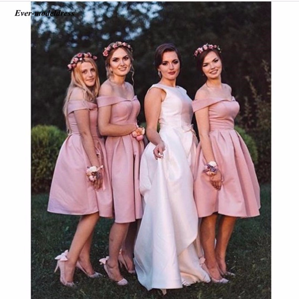 Simple Pink   Bridesmaid     Dresses   Off Shoulder Sleeveless Knee Length Sweety Wedding Guest   Dresses   Maid Of Honor Cheap Custom Made