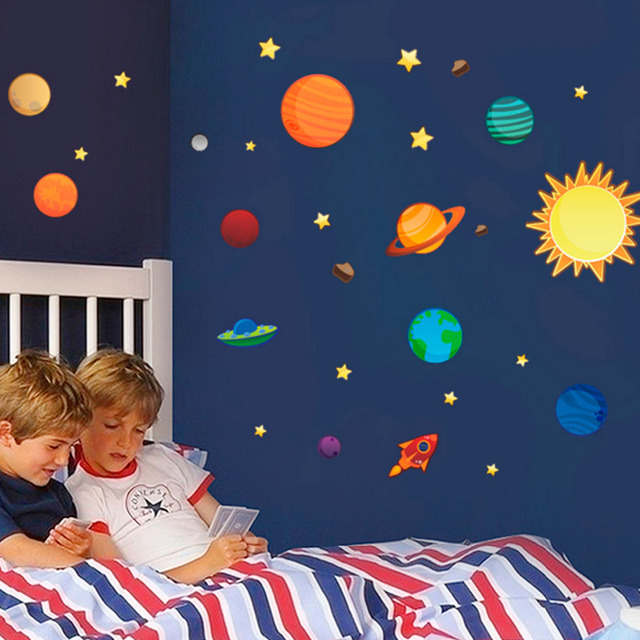 2016 New Creative Solar System Wall Stickers Plane Wall Paper Kids Bedroom  Decor Outer Space Stars