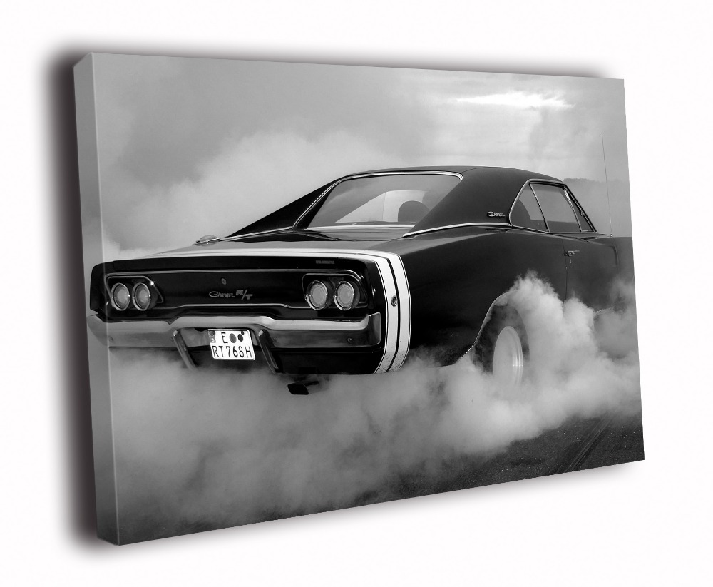 Hd Canvas Printings Painting Dodge Charger Rt Bw Muscle Car Auto