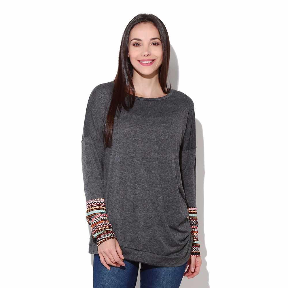 Frauen Taste Trim Top Herbst Langarm Rundhals T-Shirt Tropfen Schulter Patchwork Casual Tee # RN